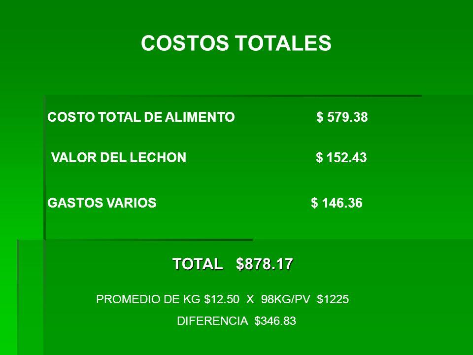 COSTOS TOTALES TOTAL $878.17 COSTO TOTAL DE ALIMENTO $ 579.38