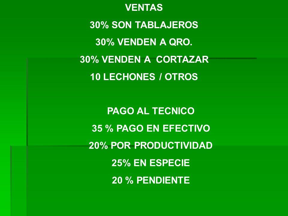 VENTAS 30% SON TABLAJEROS. 30% VENDEN A QRO. 30% VENDEN A CORTAZAR. 10 LECHONES / OTROS. PAGO AL TECNICO.