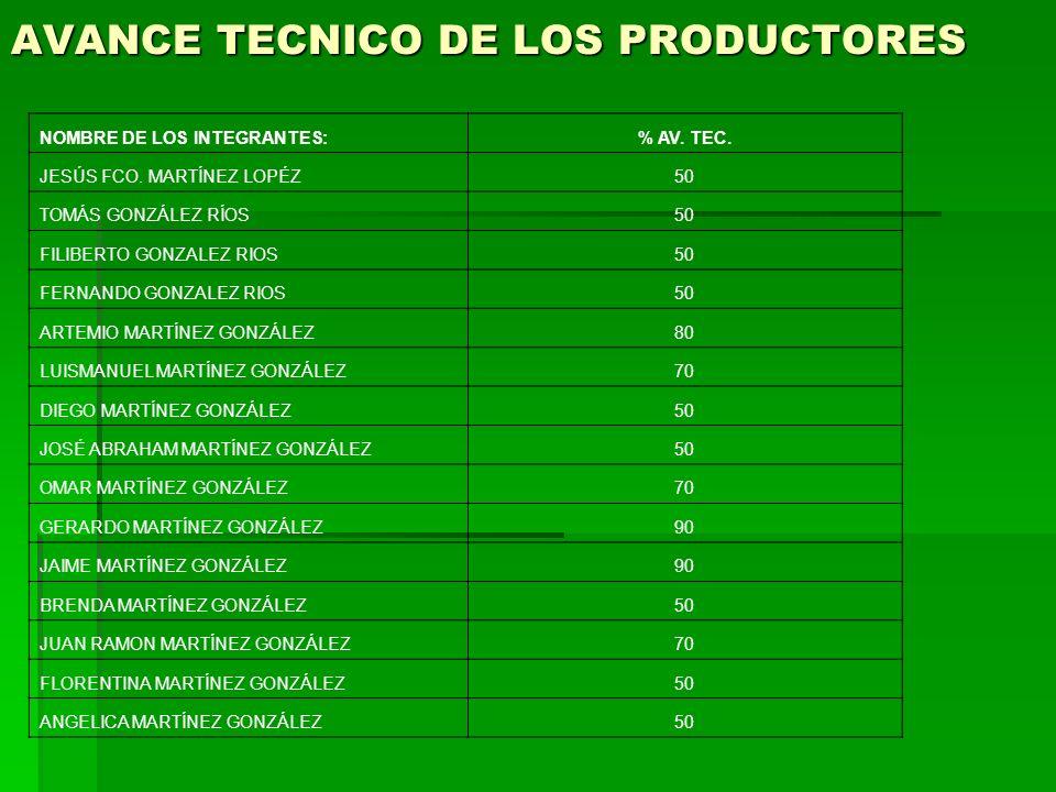 AVANCE TECNICO DE LOS PRODUCTORES