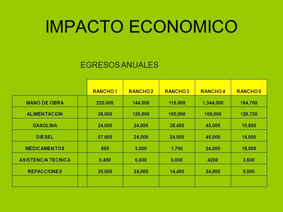 IMPACTO ECONOMICO EGRESOS ANUALES RANCHO 1 RANCHO 2 RANCHO 3 RANCHO 4