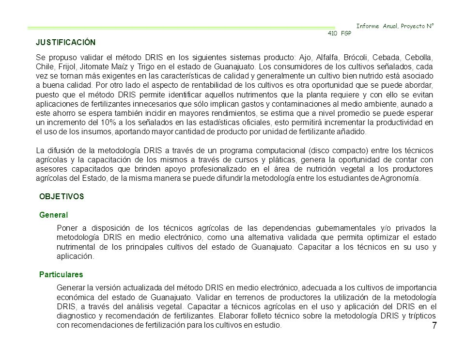 Informe Anual, Proyecto N° 410 FGP