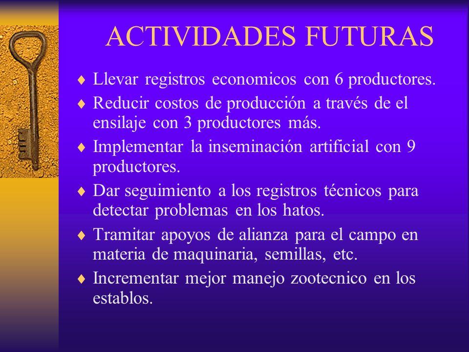 ACTIVIDADES FUTURAS Llevar registros economicos con 6 productores.
