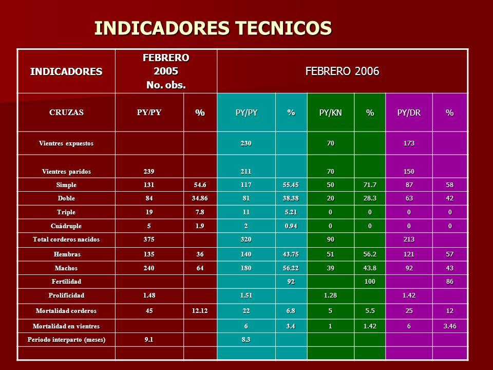 INDICADORES TECNICOS FEBRERO 2006 FEBRERO INDICADORES 2005 No. obs.