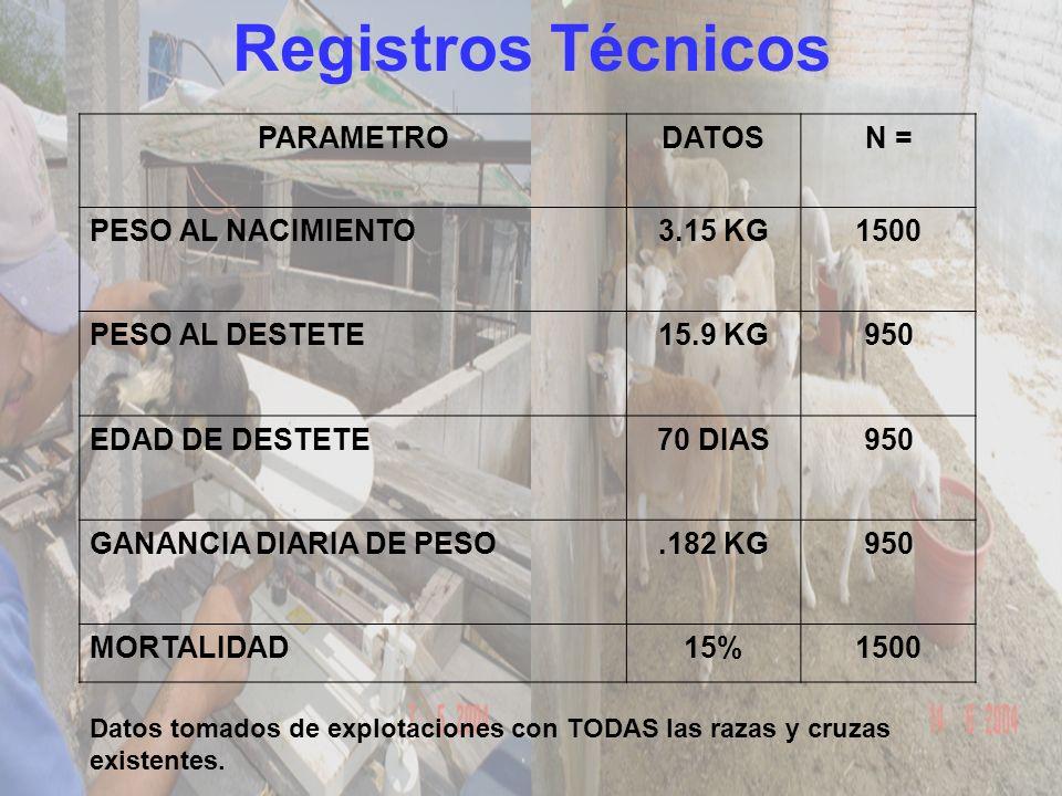 Registros Técnicos PARAMETRO DATOS N = PESO AL NACIMIENTO 3.15 KG 1500