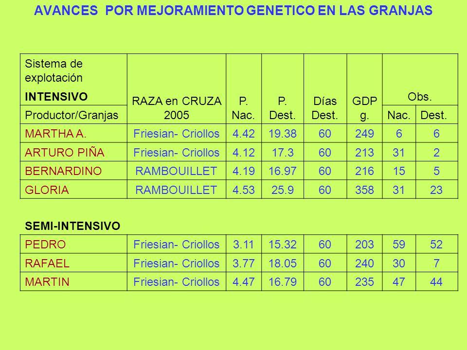 AVANCES POR MEJORAMIENTO GENETICO EN LAS GRANJAS
