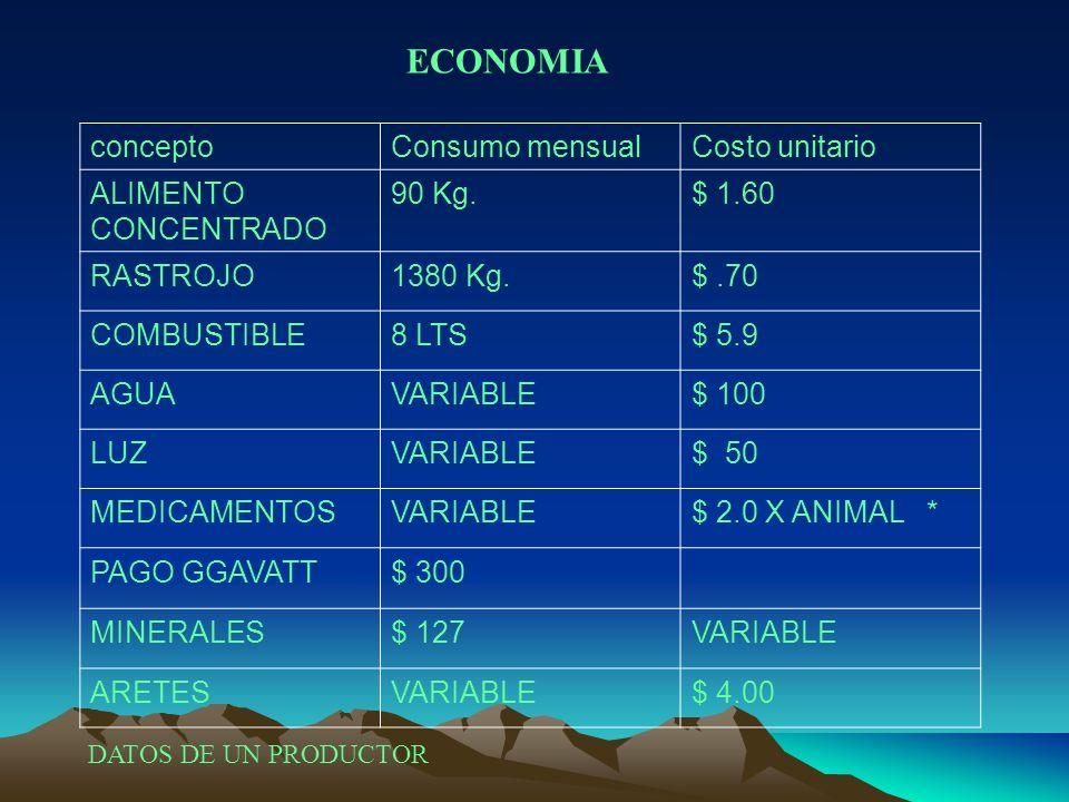 ECONOMIA concepto Consumo mensual Costo unitario ALIMENTO CONCENTRADO