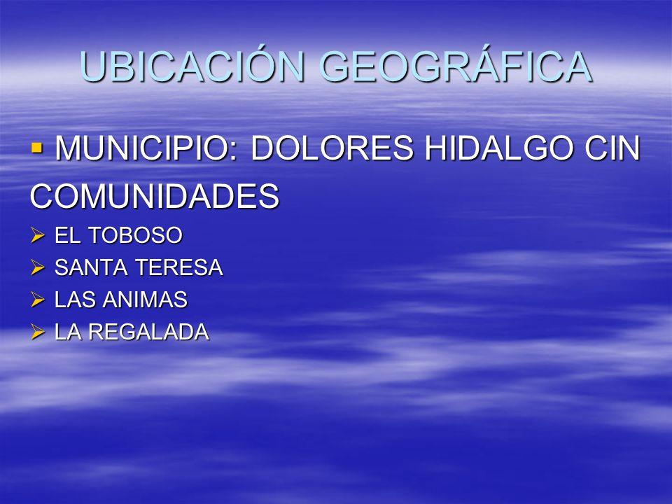 UBICACIÓN GEOGRÁFICA MUNICIPIO: DOLORES HIDALGO CIN COMUNIDADES