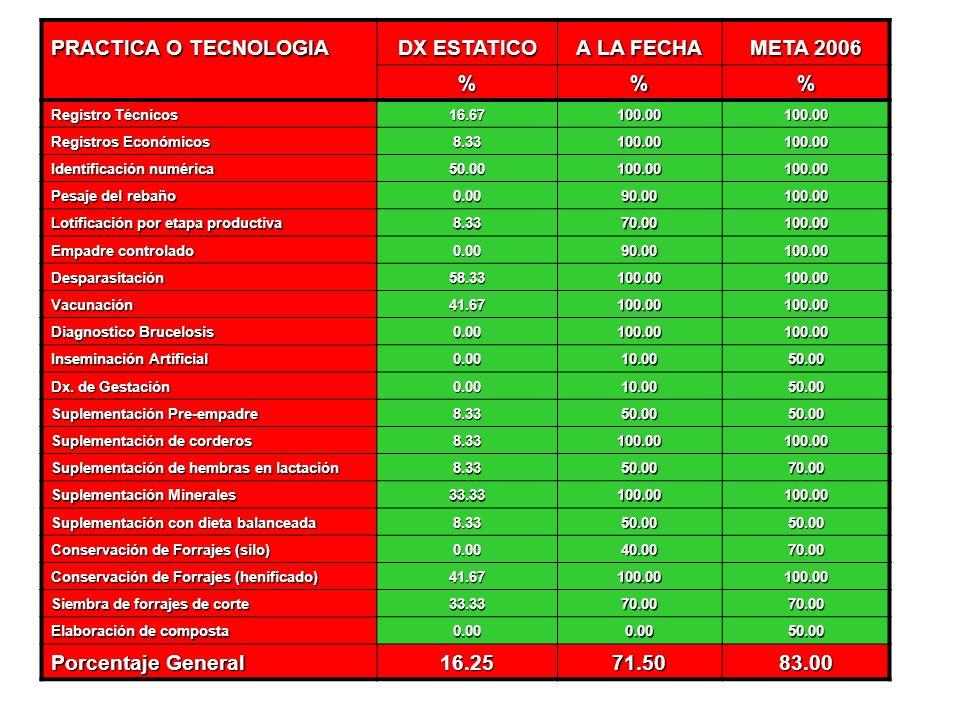 DX ESTATICO A LA FECHA META 2006 % 16.25 71.50 83.00