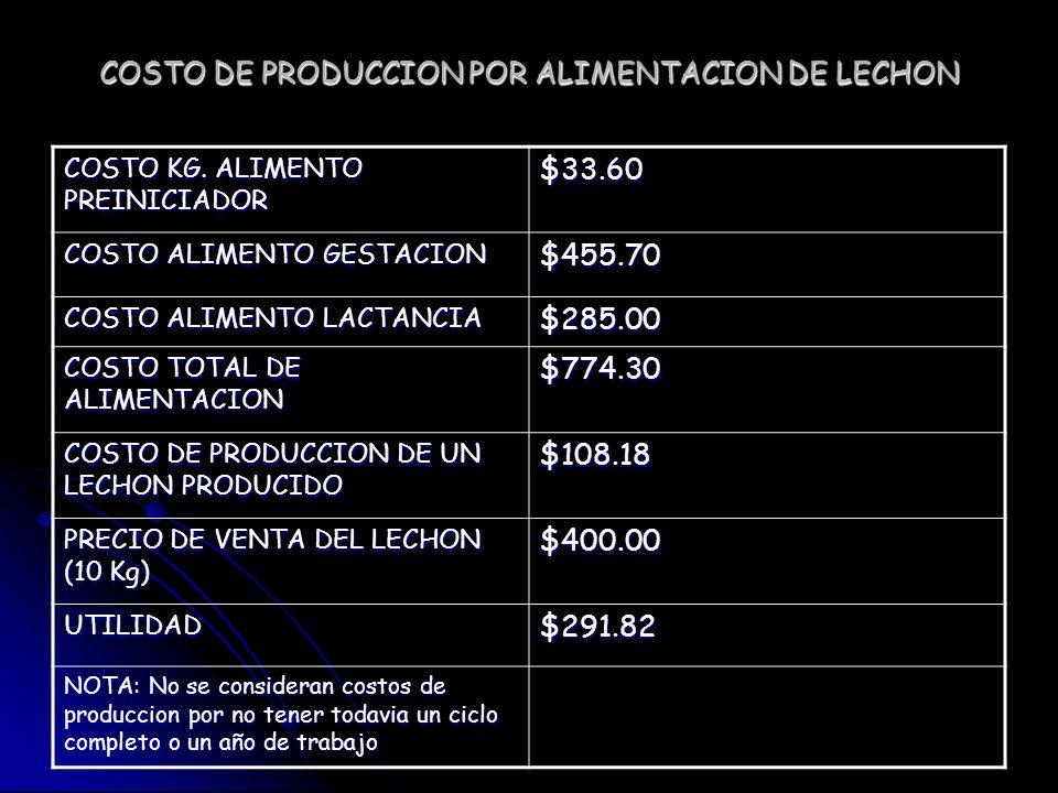 COSTO DE PRODUCCION POR ALIMENTACION DE LECHON