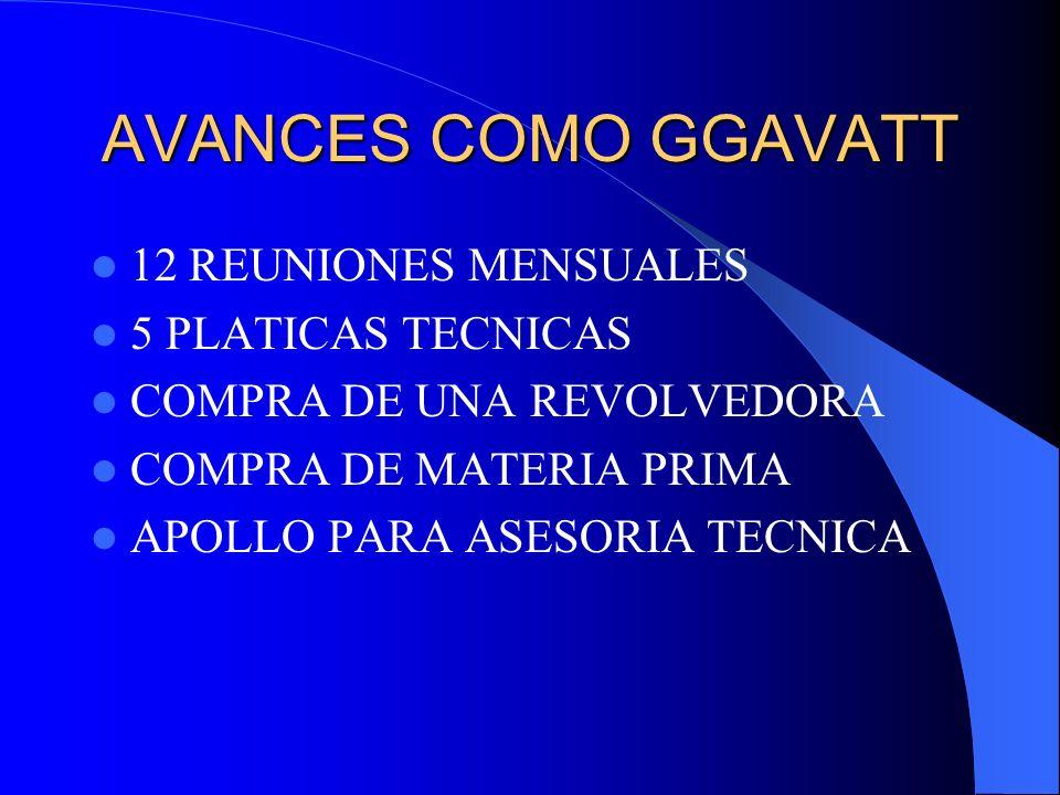 AVANCES COMO GGAVATT 12 REUNIONES MENSUALES 5 PLATICAS TECNICAS