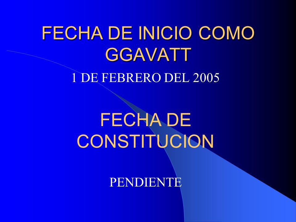 FECHA DE INICIO COMO GGAVATT