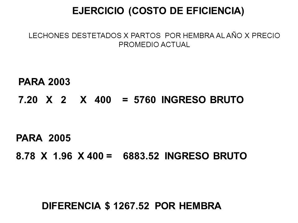 EJERCICIO (COSTO DE EFICIENCIA)
