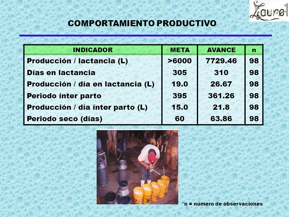 COMPORTAMIENTO PRODUCTIVO
