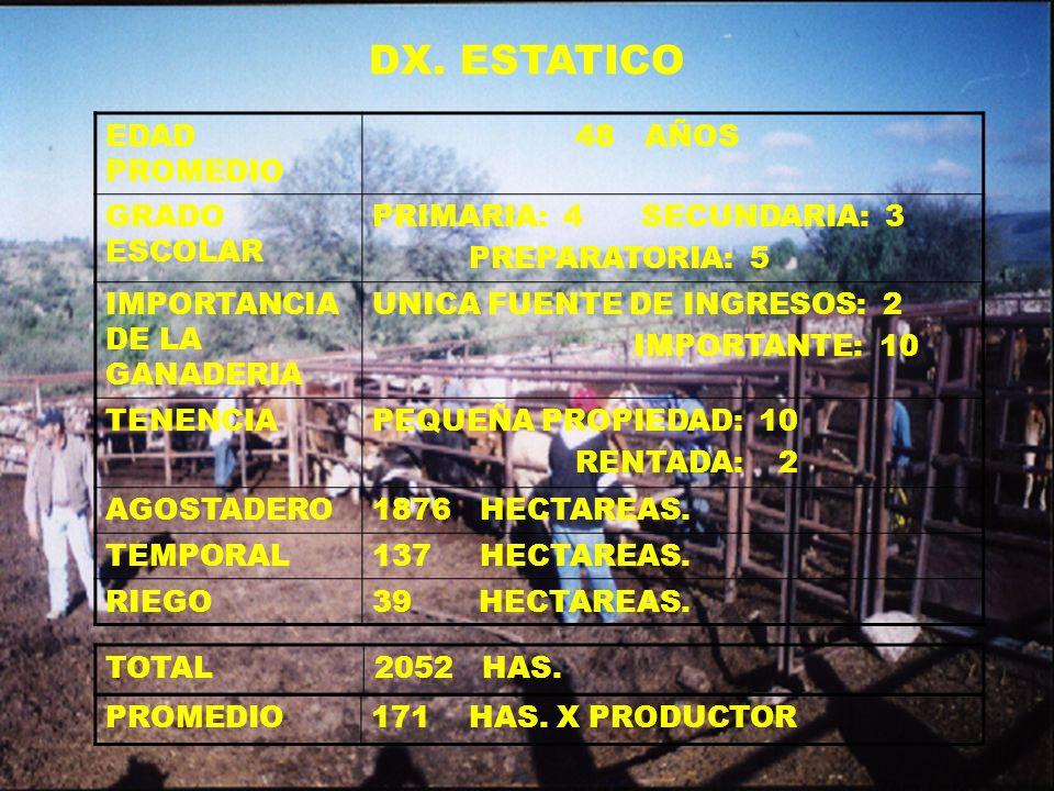 DX. ESTATICO EDAD PROMEDIO 48 AÑOS GRADO ESCOLAR