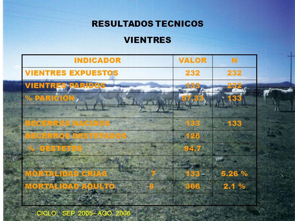 RESULTADOS TECNICOS VIENTRES INDICADOR VALOR N VIENTRES EXPUESTOS 232