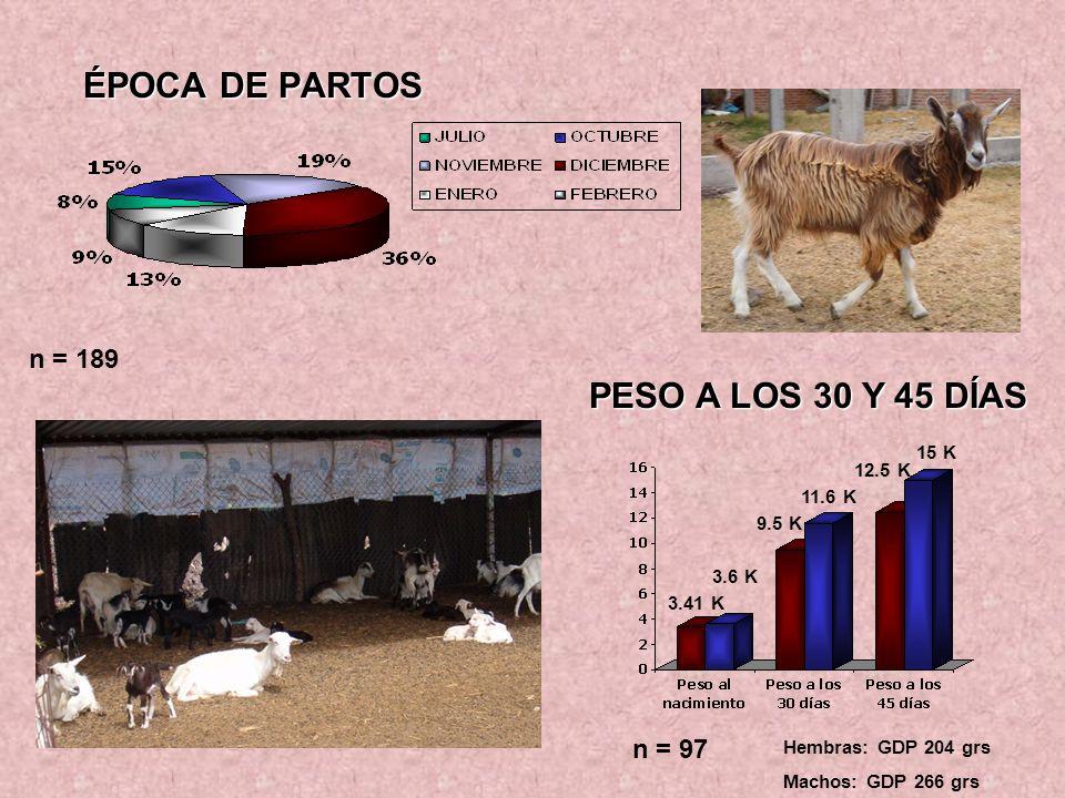 ÉPOCA DE PARTOS PESO A LOS 30 Y 45 DÍAS