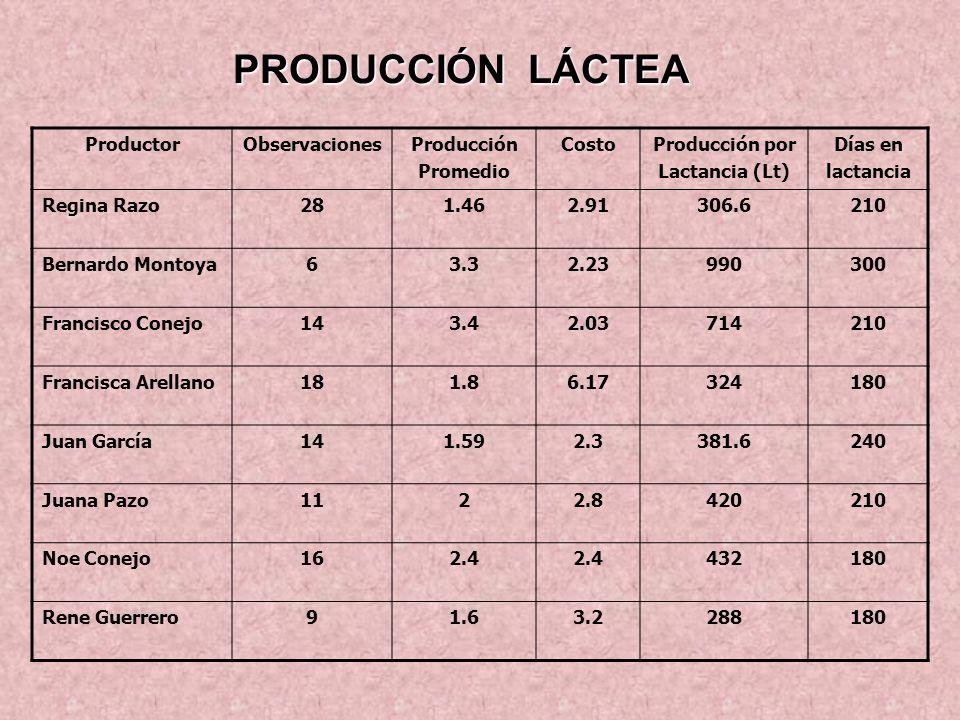 PRODUCCIÓN LÁCTEA Productor Observaciones Producción Promedio Costo