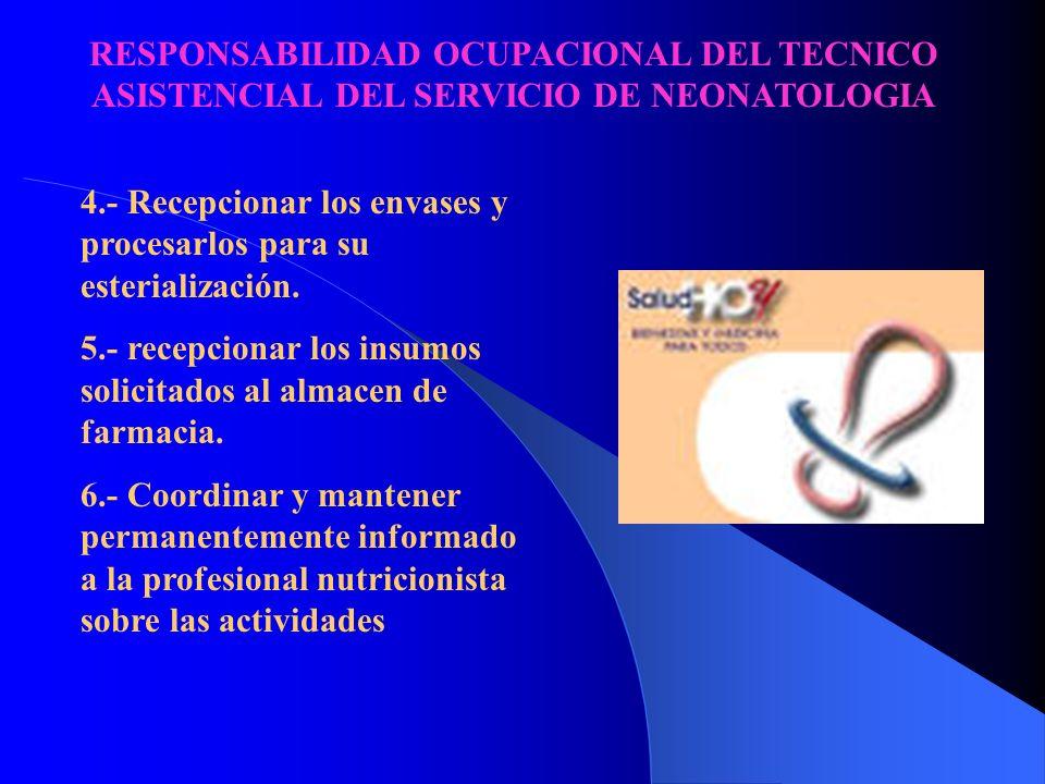 RESPONSABILIDAD OCUPACIONAL DEL TECNICO ASISTENCIAL DEL SERVICIO DE NEONATOLOGIA