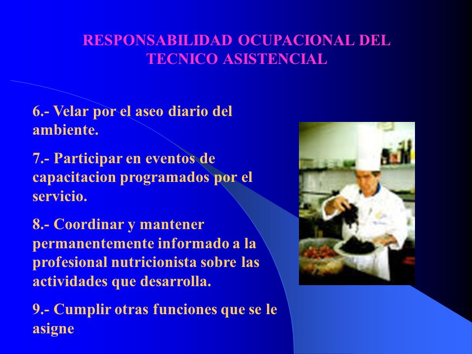 RESPONSABILIDAD OCUPACIONAL DEL TECNICO ASISTENCIAL