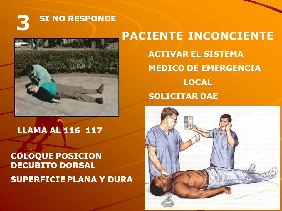3 PACIENTE INCONCIENTE SI NO RESPONDE ACTIVAR EL SISTEMA