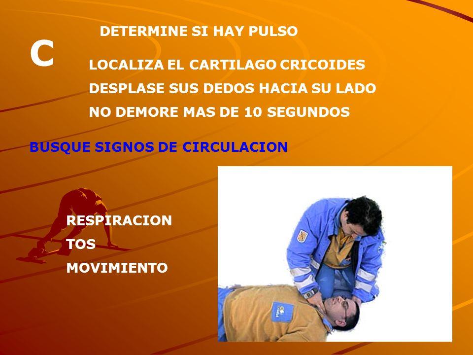 C DETERMINE SI HAY PULSO LOCALIZA EL CARTILAGO CRICOIDES