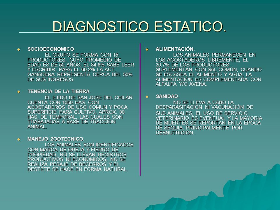 DIAGNOSTICO ESTATICO. SOCIOECONOMICO