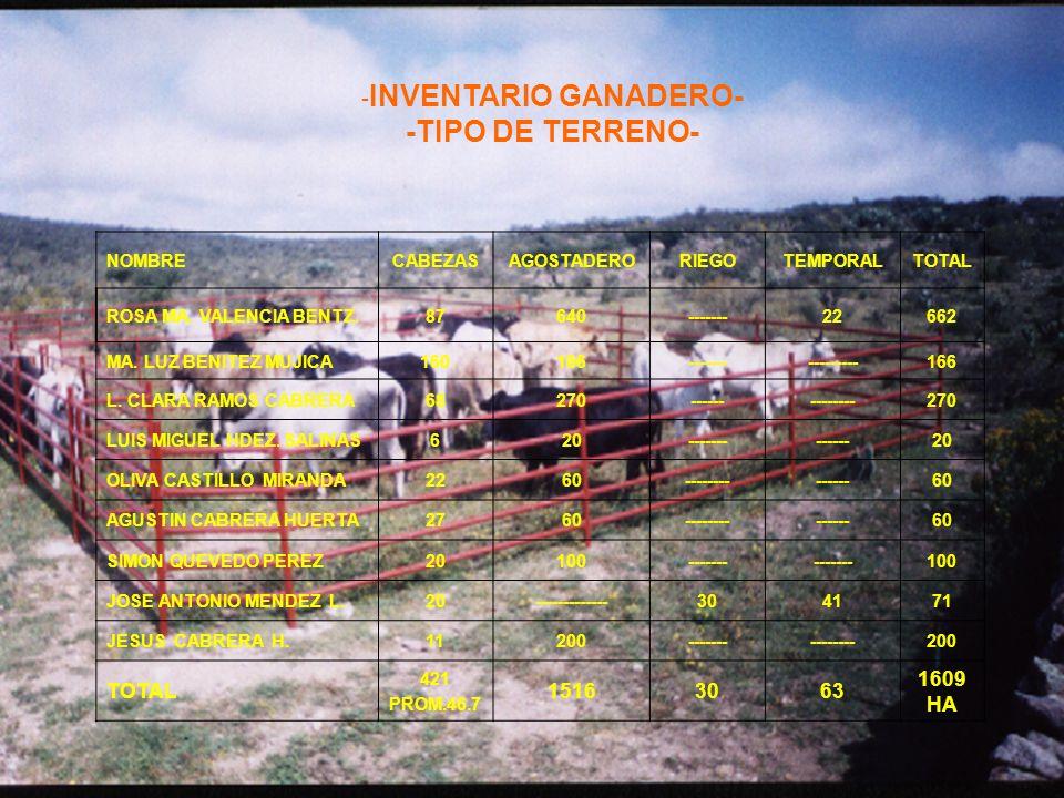 -INVENTARIO GANADERO- -TIPO DE TERRENO-