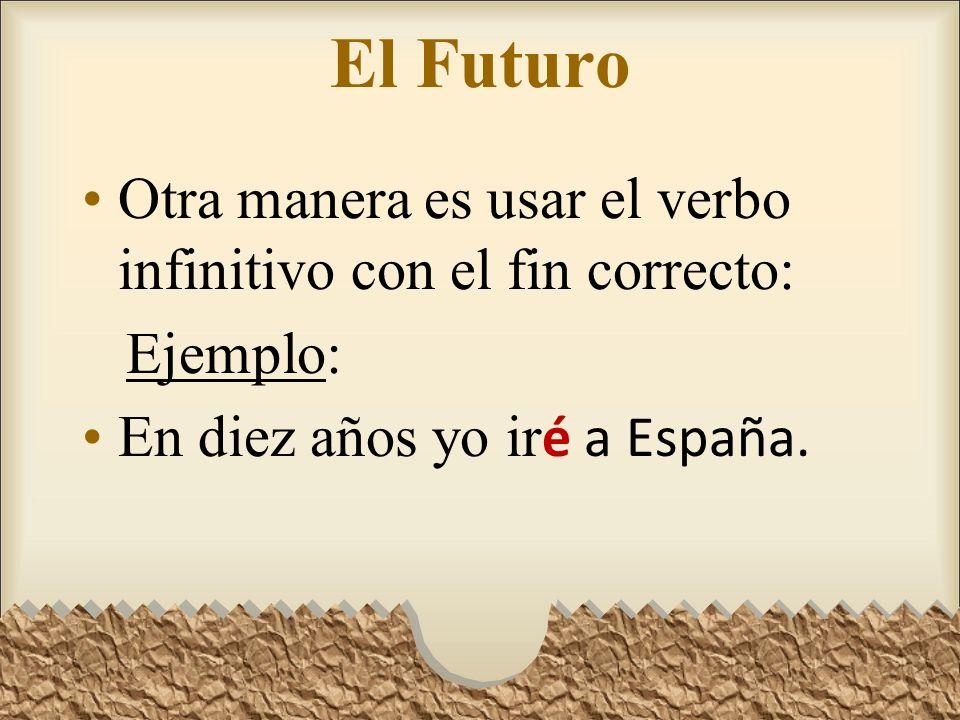 El Futuro Otra manera es usar el verbo infinitivo con el fin correcto: