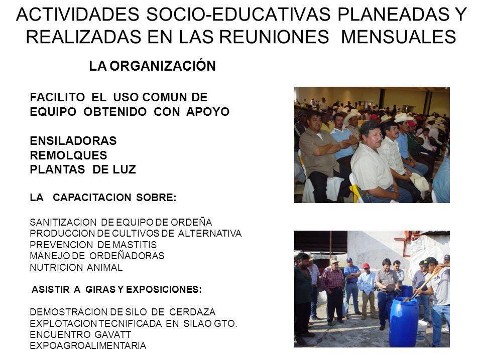 ACTIVIDADES SOCIO-EDUCATIVAS PLANEADAS Y REALIZADAS EN LAS REUNIONES MENSUALES