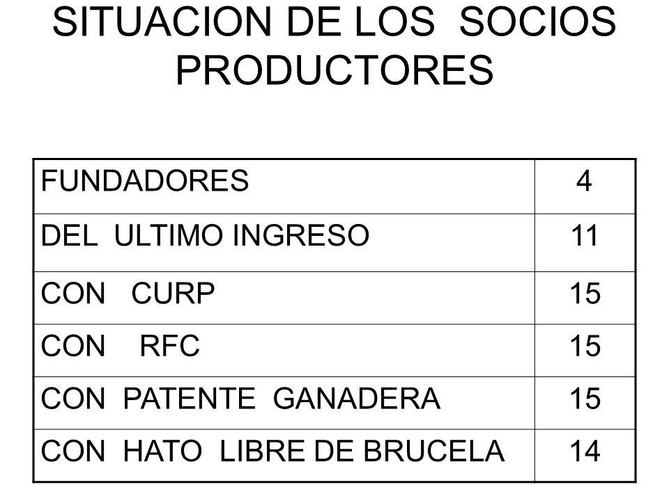 SITUACION DE LOS SOCIOS PRODUCTORES