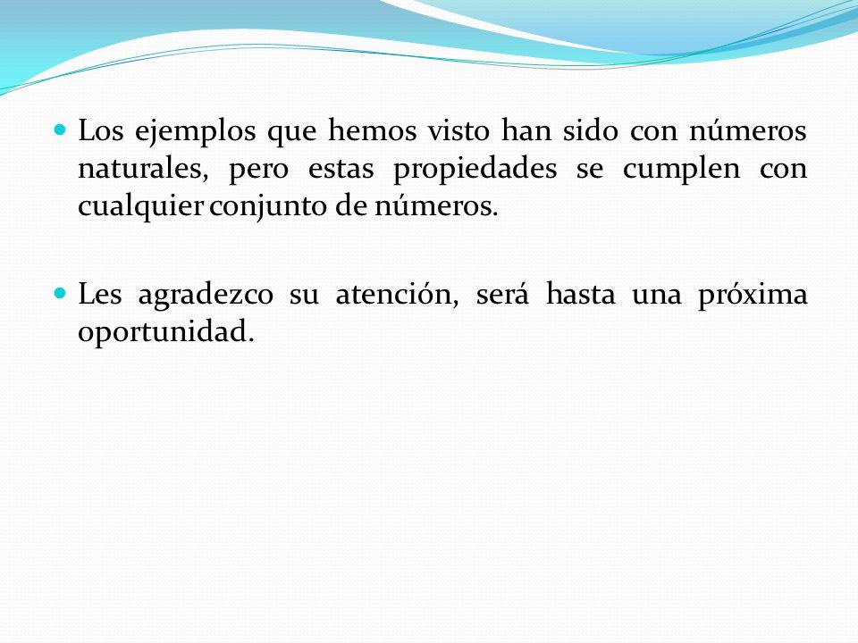 Los ejemplos que hemos visto han sido con números naturales, pero estas propiedades se cumplen con cualquier conjunto de números.