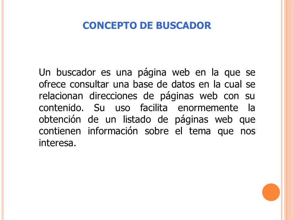 CONCEPTO DE BUSCADOR