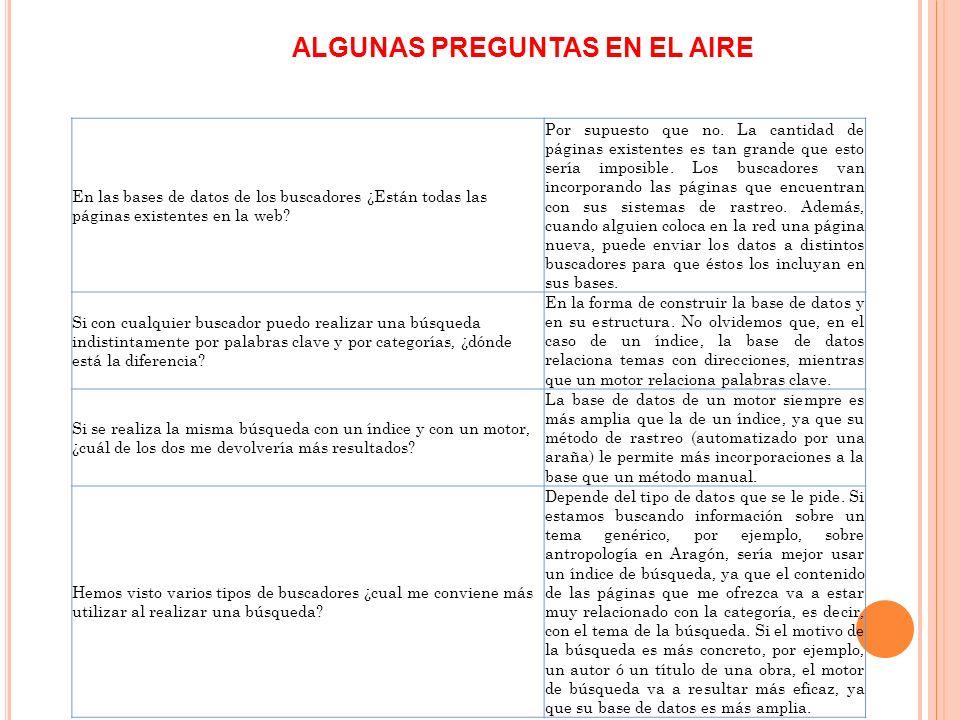ALGUNAS PREGUNTAS EN EL AIRE