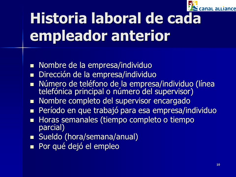 Historia laboral de cada empleador anterior