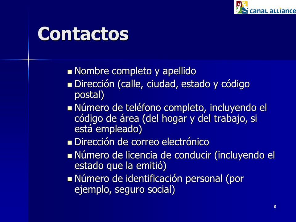 Contactos Nombre completo y apellido