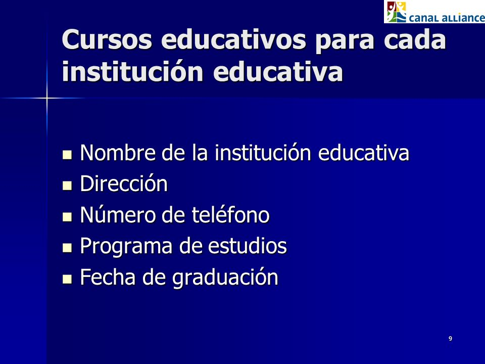 Cursos educativos para cada institución educativa