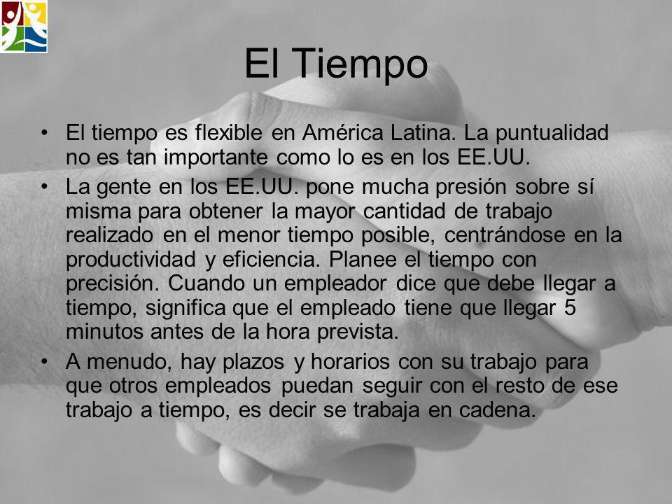El Tiempo El tiempo es flexible en América Latina. La puntualidad no es tan importante como lo es en los EE.UU.