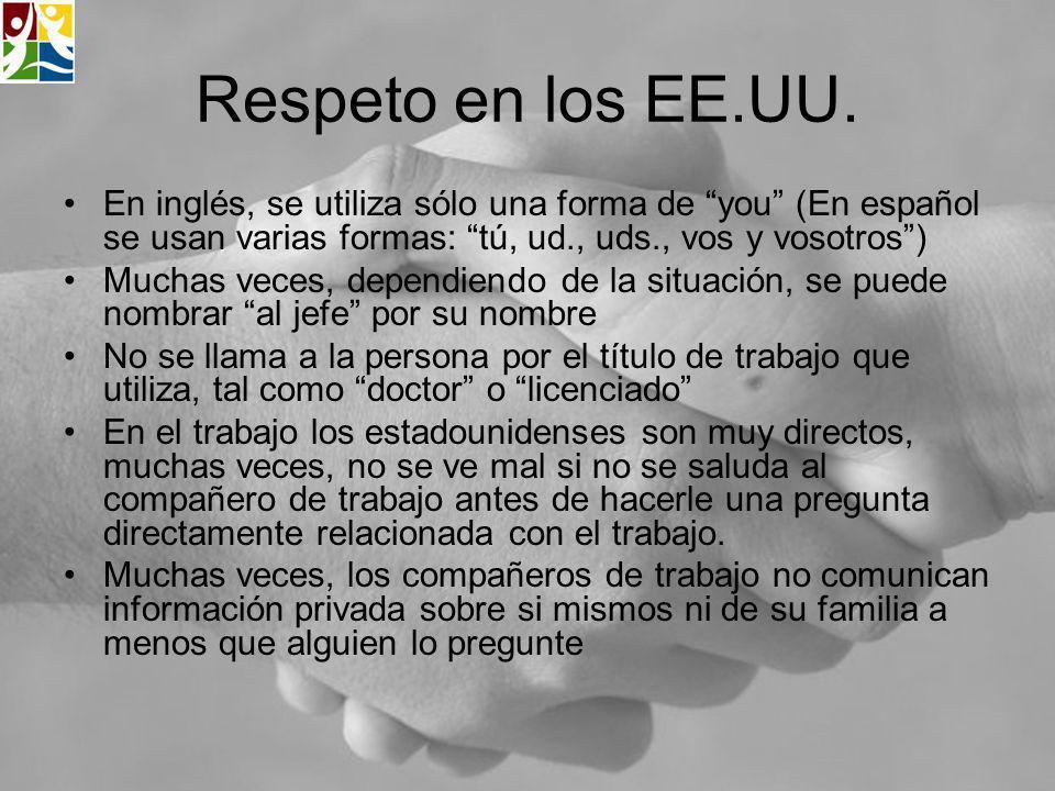 Respeto en los EE.UU. En inglés, se utiliza sólo una forma de you (En español se usan varias formas: tú, ud., uds., vos y vosotros )