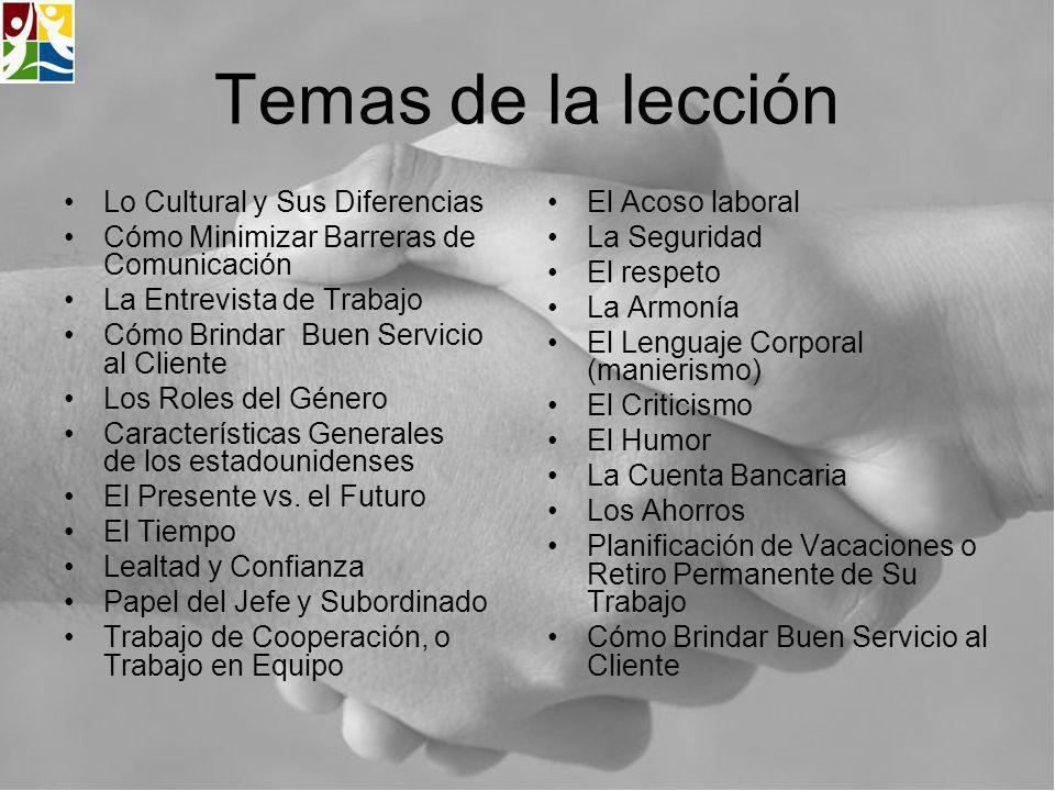 Temas de la lección Lo Cultural y Sus Diferencias