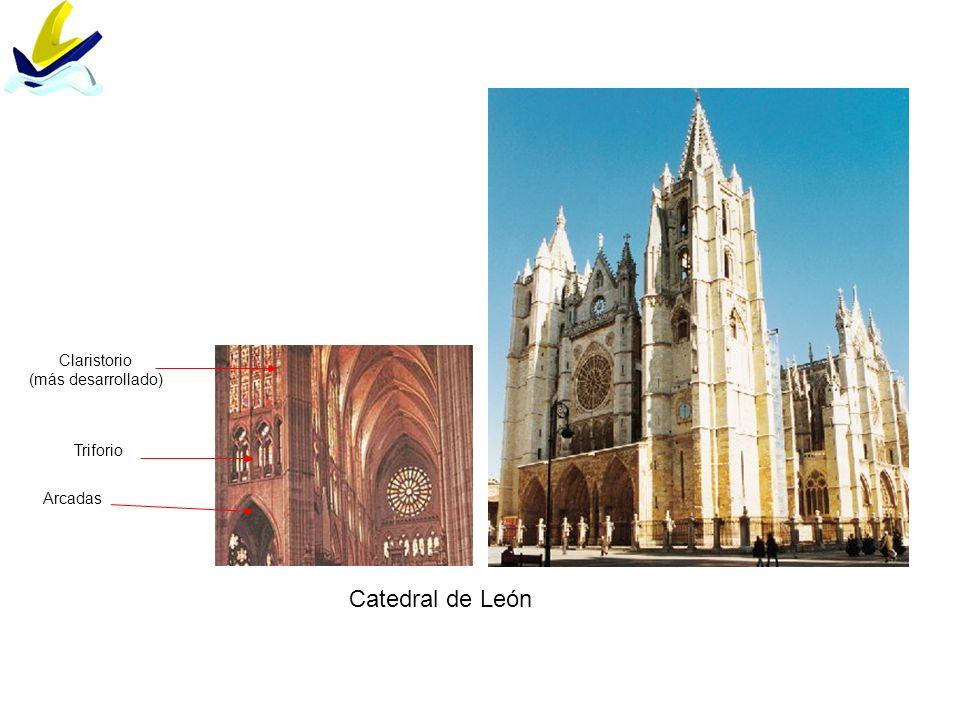 Claristorio (más desarrollado) Triforio Arcadas Catedral de León