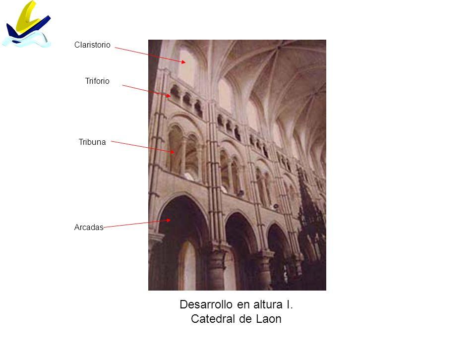 Desarrollo en altura I. Catedral de Laon Claristorio Triforio Tribuna