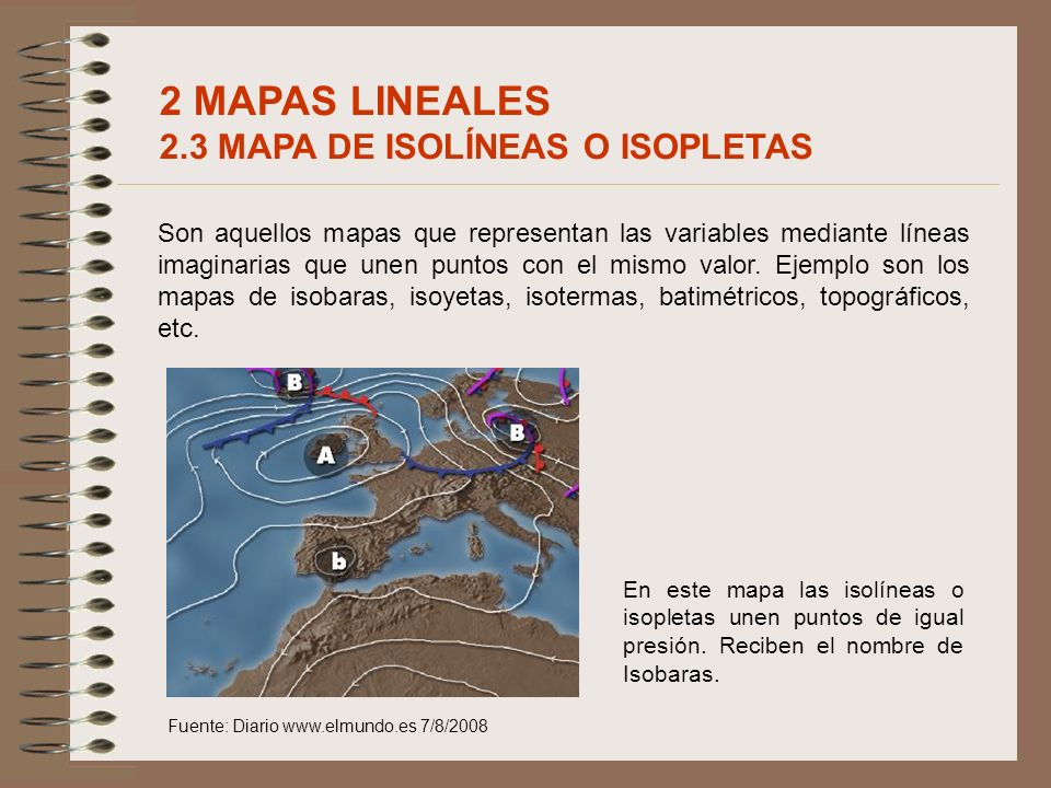 2 MAPAS LINEALES 2.3 MAPA DE ISOLÍNEAS O ISOPLETAS
