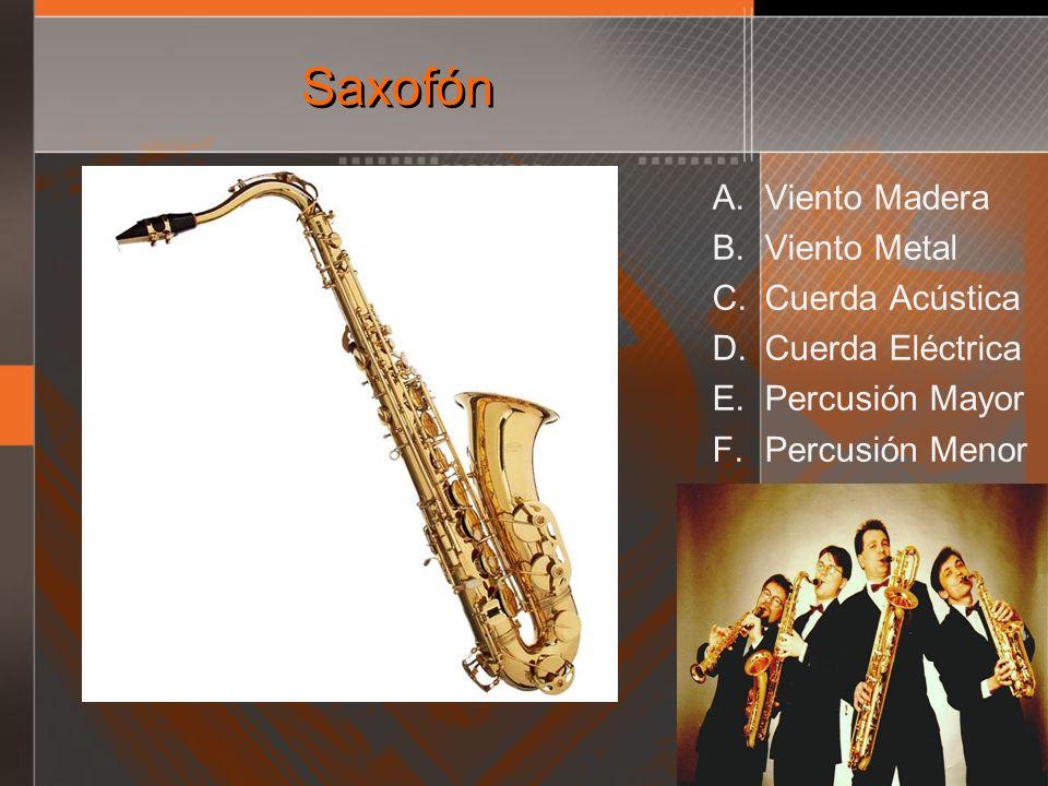 Saxofón Viento Madera Viento Metal Cuerda Acústica Cuerda Eléctrica