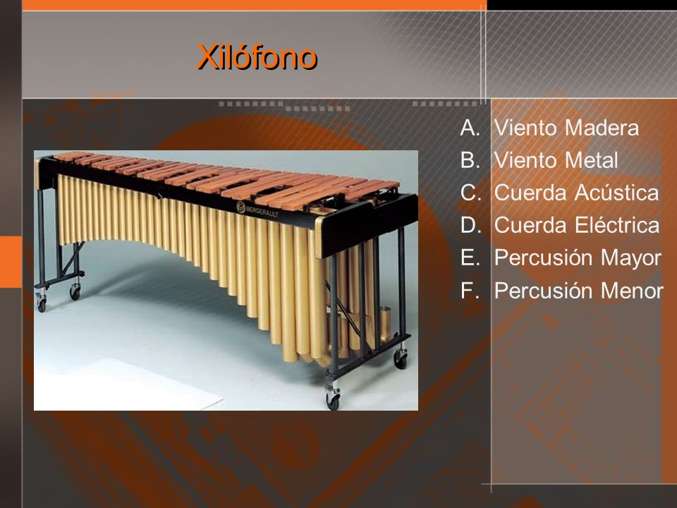 Xilófono Viento Madera Viento Metal Cuerda Acústica Cuerda Eléctrica