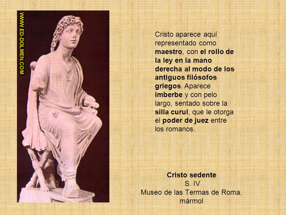Cristo sedente S. IV Museo de las Termas de Roma. mármol
