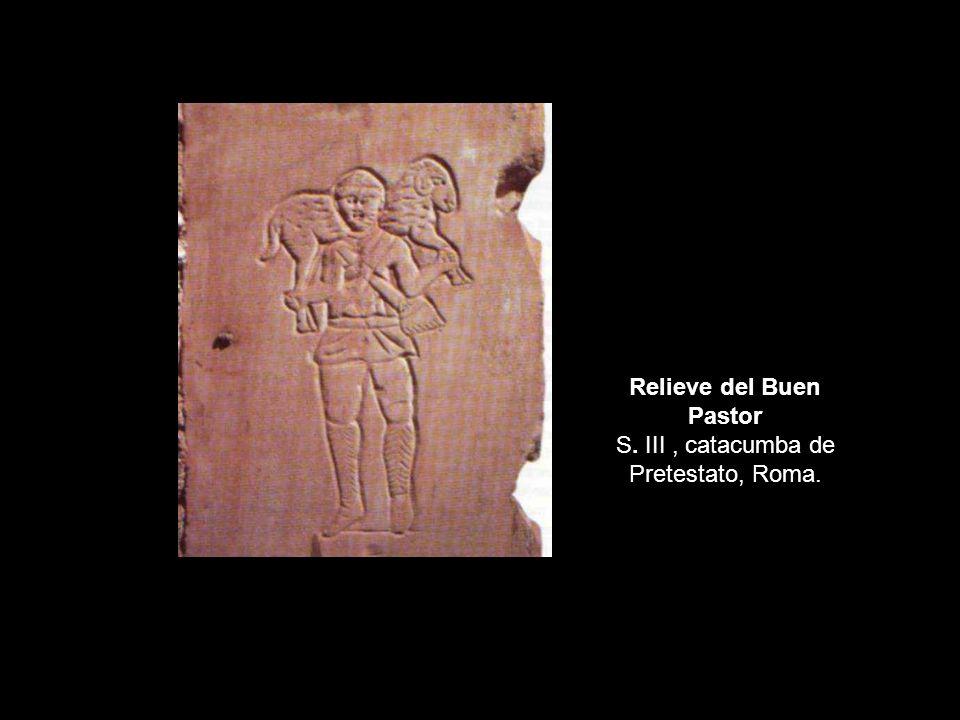 Relieve del Buen Pastor S. III , catacumba de Pretestato, Roma.