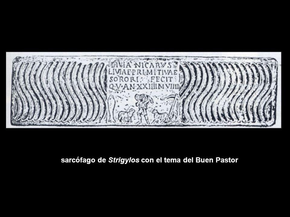 sarcófago de Strigylos con el tema del Buen Pastor
