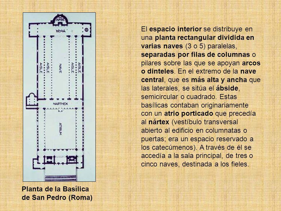 El espacio interior se distribuye en una planta rectangular dividida en varias naves (3 o 5) paralelas, separadas por filas de columnas o pilares sobre las que se apoyan arcos o dinteles. En el extremo de la nave central, que es más alta y ancha que las laterales, se sitúa el ábside, semicircular o cuadrado. Estas basílicas contaban originariamente con un atrio porticado que precedía al nártex (vestíbulo transversal abierto al edificio en columnatas o puertas; era un espacio reservado a los catecúmenos). A través de él se accedía a la sala principal, de tres o cinco naves, destinada a los fieles.