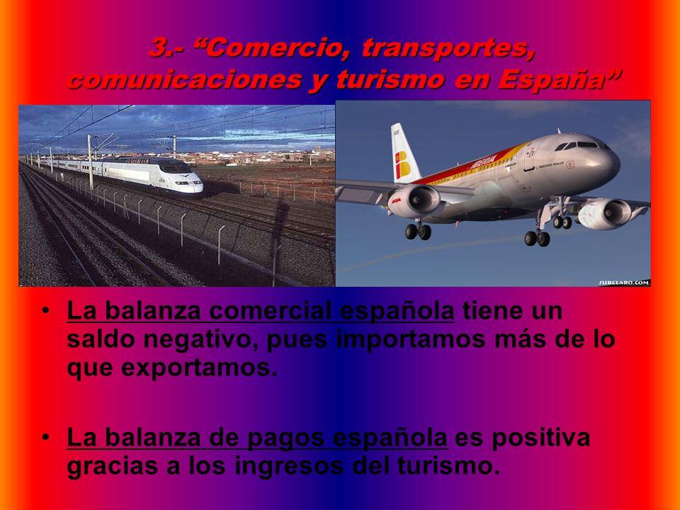3.- Comercio, transportes, comunicaciones y turismo en España
