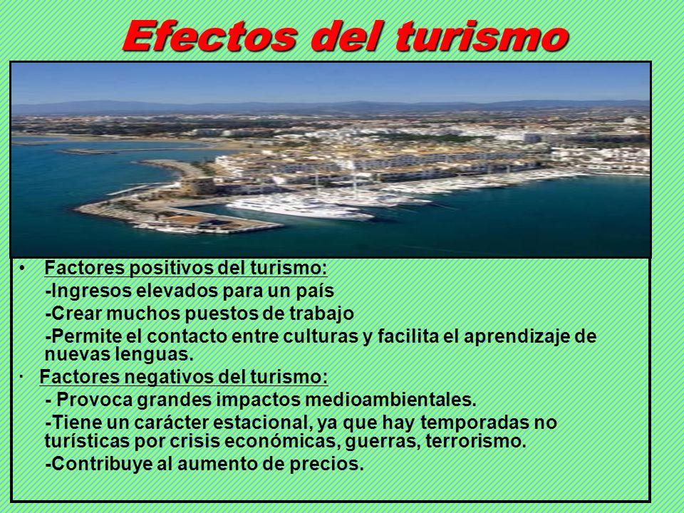 Efectos del turismo Factores positivos del turismo: